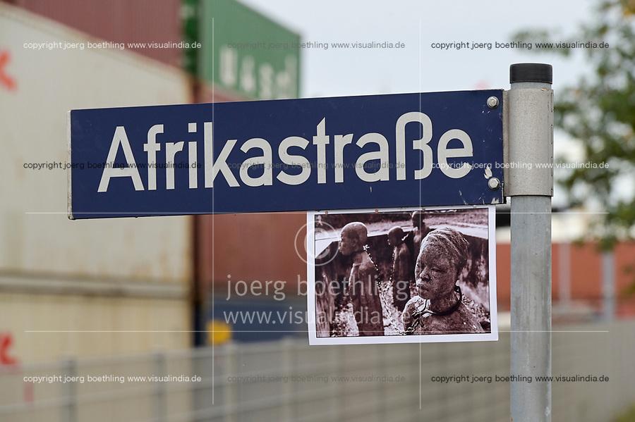 GERMANY, Hamburg, german colonial history, controversial street names, africa street in Hamburg port  / DEUTSCHLAND, Hamburg, Spuren der deutschen Kolonialgeschichte, umstrittene Straßennamen, Afrika Straße im Hamburger Hafen