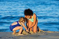 Girls play at the beach, Cape Cod