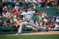 Columbus Clippers starting pitcher Shawn Morimando (34) during a game against the Rochester Red Wings on August 9, 2017 at Frontier Field in Rochester, New York.  Rochester defeated Columbus 12-3.  (Mike Janes/Four Seam Images)