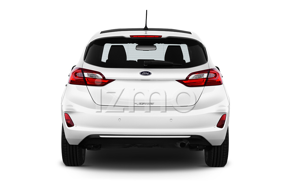 Straight rear view of a 2018 Ford Fiesta Vignale Base 5 Door Hatchback stock images