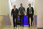 Atletico´s President Enrique Cerezo (L), Jose Luis Caminero (R) and Croatian Mario Mandzukic during his official presentation as a new Atletico de Madrid´s football player at Vicente Calderon stadium in Madrid, Spain. July 24, 2014. (ALTERPHOTOS/Victor Blanco)