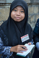 Borobudur, Java, Indonesia.  Young Indonesian Student Visiting the Temple.