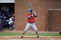 Jesse Uttendorfer (2) of the NJIT Highlanders at bat against the High Point Panthers at Williard Stadium on February 18, 2017 in High Point, North Carolina. The Highlanders defeated the Panthers 4-2 in game two of a double-header. (Brian Westerholt/Four Seam Images)