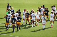 SANDY, UT - SEPTEMBER 26: Players from the OL Reign and Utah Royals FC react after a game between OL Reign and Utah Royals FC at Rio Tinto Stadium on September 26, 2020 in Sandy, Utah.