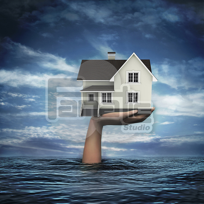 Illustrative image of hand coming out from sea holding model home representing home insurance