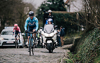 Carlos Betancur (COL/Movistar) up the Kruisberg cobbles<br /> <br /> 71th Kuurne-Brussel-Kuurne 2019 <br /> Kuurne to Kuurne (BEL): 201km<br /> <br /> ©kramon