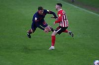 Blackpool's Dan Ballard fouls Sunderland's Jordan Jones during Sunderland AFC vs Blackpool, Sky Bet EFL League 1 Football at the Stadium Of Light on 27th April 2021