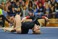 LOS ANGELES, CA - February 5, 2012:  Stanford's Pauline Hanset during competition against the UCLA Bruins at the Wooden Center.   UCLA defeated Stanford, 197.250 - 196.450.