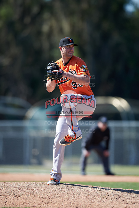 Baltimore Orioles pitcher Jon Keller (90) delivers a pitch during a minor league Spring Training game against the Boston Red Sox on March 16, 2017 at the Buck O'Neil Baseball Complex in Sarasota, Florida.  (Mike Janes/Four Seam Images)