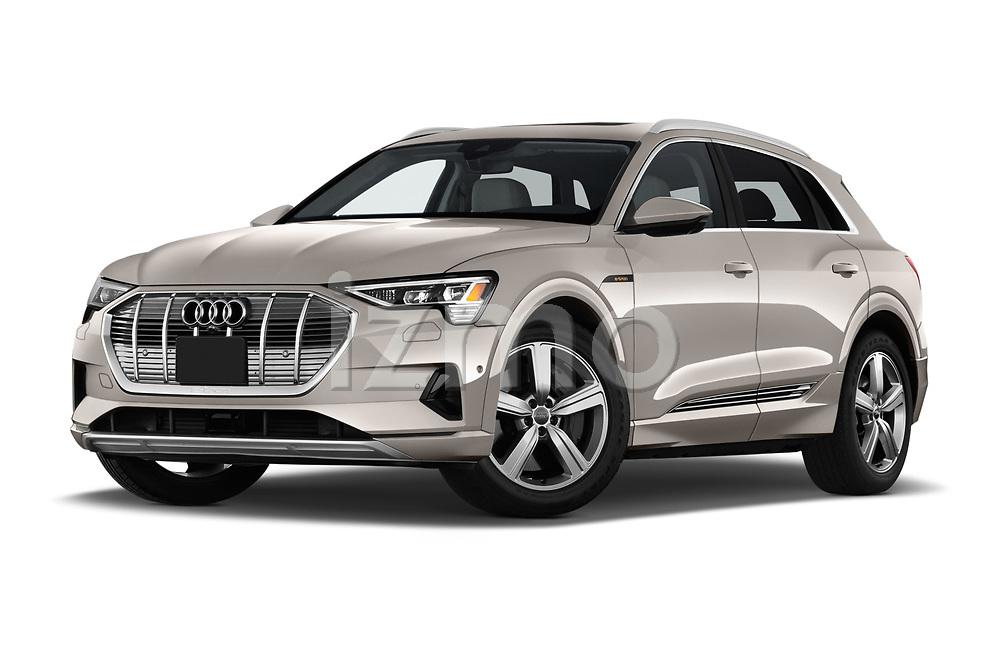 Low aggressive front three quarter view of a 2019 Audi e-tron Prestige 5 Door SUV