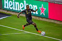 LOS ANGELES, CA - SEPTEMBER 13: Bradley Wright-Phillips #66 of LAFC moves with the ball during a game between Portland Timbers and Los Angeles FC at Banc of California stadium on September 13, 2020 in Los Angeles, California.