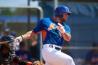 New York Mets outfielder Tim Tebow (15) grounds into a fielders choice during an Instructional League game against the Miami Marlins on September 29, 2016 at Port St. Lucie Training Complex in Port St. Lucie, Florida.  (Mike Janes/Four Seam Images)