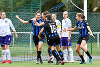 Frieke Temmerman (17 Brugge) pictured celebrating after scoring a goal during a female soccer game between Club Brugge Dames YLA and RSC Anderlecht Ladies on the fifth matchday of the 2020 - 2021 season of Belgian Scooore Womens Super League , sunday 18 October 2020  in Brugge , Belgium . PHOTO SPORTPIX.BE | SPP | DAVID CATRY
