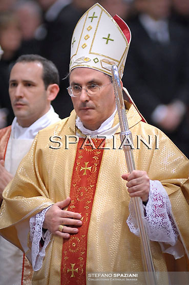 Monsignor Celso Morga Iruzubieta of Spain during the holy mass and rite of Episcopal ordination celebrated by Pope Benedict XVI in St. Peter's basilica at the Vatican on February 5, 2011. He was one of the five bishops ordained today by Pope Benedict XVI.