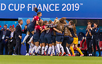 REIMS, FRANCE - JUNE 08: Caroline Graham Hansen #10, Maria Thorisdottir #3 and Isabell Herlovsen #9 celebrate a goal with teammates during a game between Norway and Nigeria at Stade Auguste-Delaune on June 8, 2019 in Reims, France.