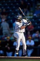 Tampa Tarpons center fielder Estevan Florial (34) at bat during a game against the Bradenton Marauders on April 25, 2018 at LECOM Park in Bradenton, Florida.  Tampa defeated Bradenton 7-3.  (Mike Janes/Four Seam Images)