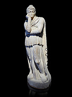 Roman statue of Arris, 3rd century AD from Hierapolis. Hierapolis Archaeology Museum, Turkey . Against an black background