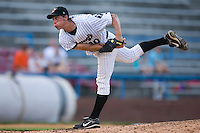 Starting pitcher John Ely (40) of the Winston-Salem Warthogs follows through on his delivery versus the Frederick Keys at Ernie Shore Field in Winston-Salem, NC, Saturday, June 7, 2008.