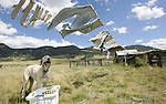 """Writer Pam Houston's laundry dries in the wind at her ranch in Creede, Co. on Friday Sept. 14, 2007.   She's written four books, including """"Cowboys are my Weekness,"""" and teaches creative writing.  (ELLEN JASKOL/ROCKY MOUNTAIN NEWS)"""