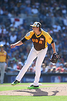 Jeff Hoffman of the USA Team pitches against the World Team during The Futures Game at Petco Park on July 10, 2016 in San Diego, California. World Team defeated USA Team, 11-3. (Larry Goren/Four Seam Images)