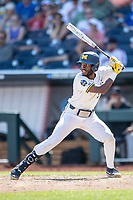 Michigan Wolverines outfielder Christian Bullock (5) at bat during Game 11 of the NCAA College World Series against the Texas Tech Red Raiders on June 21, 2019 at TD Ameritrade Park in Omaha, Nebraska. Michigan defeated Texas Tech 15-3 and is headed to the CWS Finals. (Andrew Woolley/Four Seam Images)