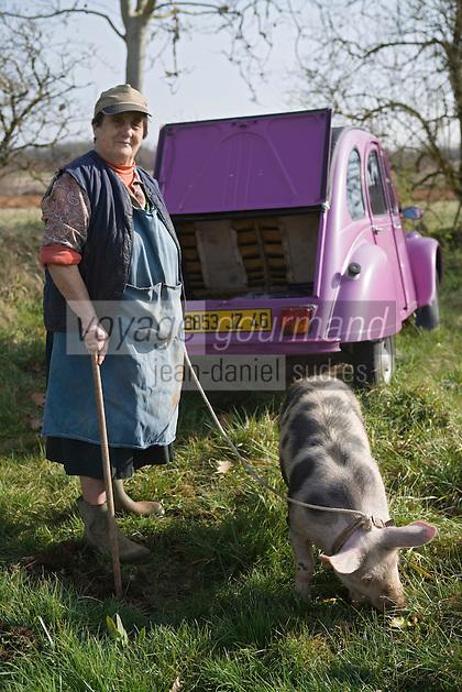 Europe/France/Midi-Pyrénées/46/Lot/Lalbenque: Marthe Delon avec sa 2 CV mauve et son on cochon Kiki  lors  du cavage (Recherche) de ses truffes sur le causse . Auto N°: 2007-101