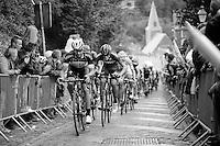 Guillaume Van Keirsbulck (BEL/Ettix-Quickstep) charging in front of the peloton up the Mur de Thuin (C1) cobbles<br /> <br /> Tour de Wallonie 2015<br /> stage 5: Chimay - Thuin (167km)