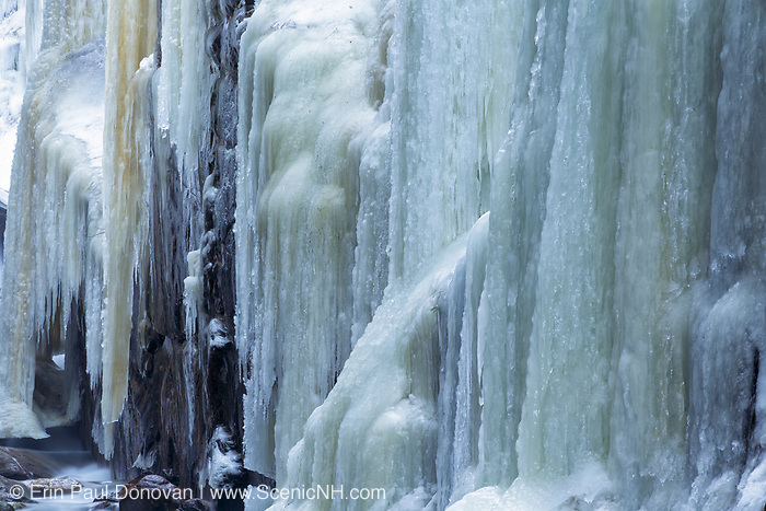 Flume Gorge in Franconia Notch State Park of New Hampshire USA during the winter months.