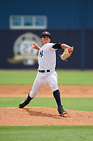 GCL Yankees East relief pitcher Wandy Soto (49) delivers a pitch during the first game of a doubleheader against the GCL Blue Jays on July 24, 2017 at the Yankees Minor League Complex in Tampa, Florida.  GCL Blue Jays defeated the GCL Yankees East 6-3 in a game that originally started on July 8th.  (Mike Janes/Four Seam Images)