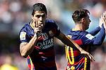 FC Barcelona's Leo Messi (r) and Luis Suarez celebrate goal during La Liga match. May 14,2016. (ALTERPHOTOS/Acero)