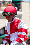 DEL MAR, CA  AUGUST 10:HOF Mike Smith getting birthday wishes before the first race at Del Mar Thoroughbred Club on August 10, 2019  (Photo by Casey Phillips/Eclipse Sportswire/CSM)