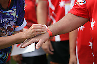 Pictured: A wristband is worn by participants in Cardiff, Wales, UK. Wednesday 24 August 2016<br />Re: The largest rugby scrum has been achieved by Golden Oldies at University Fields in Cardiff south Wales, UK. It was refereed by welsh international referee Nigel Owens. Guinness World Records has verified the new record in which 1297 people took part in.