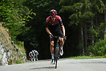 Pavel Sivakov (RUS) Team Ineos attacks on the Col de la Colombière during Stage 5 of Criterium du Dauphine 2020, running 153.5km from Megeve to Megeve, France. 16th August 2020.<br /> Picture: ASO/Alex Broadway | Cyclefile<br /> All photos usage must carry mandatory copyright credit (© Cyclefile | ASO/Alex Broadway)