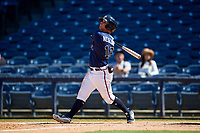 Mississippi Braves Tyler Neslony (12) at bat during a Southern League game against the Jacksonville Jumbo Shrimp on May 5, 2019 at Trustmark Park in Pearl, Mississippi.  Mississippi defeated Jacksonville 1-0 in ten innings.  (Mike Janes/Four Seam Images)