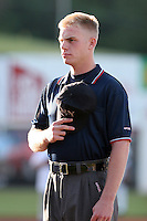 Umpire Patrick Barbour during a NY-Penn League game at Russell Diethrick Park on August 11, 2006 in Jamestown, New York.  (Mike Janes/Four Seam Images)