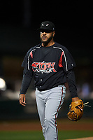 Lake Elsinore Storm starting pitcher Pedro Avila (14) walks off the field between innings of a California League game against the Rancho Cucamonga Quakes at LoanMart Field on May 19, 2018 in Rancho Cucamonga, California. Lake Elsinore defeated Rancho Cucamonga 10-7. (Zachary Lucy/Four Seam Images)