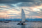 Sunset boating on Lake Champlain at Perkins Pier in Burlington, VT, USA