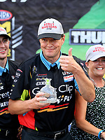 Jun 18, 2017; Bristol, TN, USA; David Grubnic, crew chief for NHRA top fuel driver Clay Millican celebrates after winning the Thunder Valley Nationals at Bristol Dragway. Mandatory Credit: Mark J. Rebilas-USA TODAY Sports