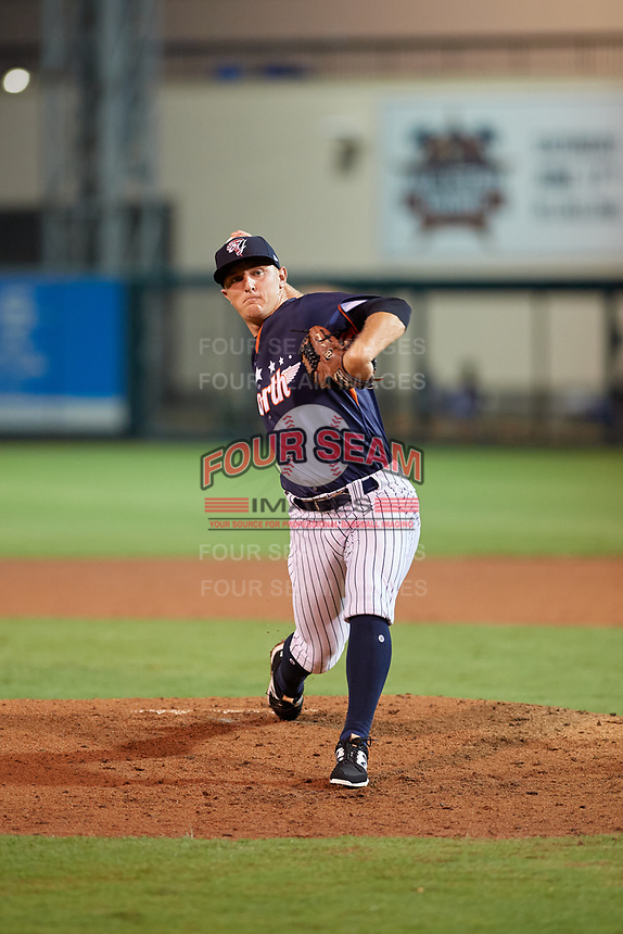 Tampa Yankees pitcher Andrew Schwaab (34) during the Florida State League All-Star Game on June 17, 2017 at Joker Marchant Stadium in Lakeland, Florida.  FSL North All-Stars defeated the FSL South All-Stars  5-2.  (Mike Janes/Four Seam Images)