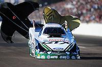 Feb. 18, 2012; Chandler, AZ, USA; NHRA funny car driver Mike Neff during qualifying for the Arizona Nationals at Firebird International Raceway. Mandatory Credit: Mark J. Rebilas-