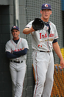 Nick Hagadone #35 of the Kinston Indians warming up in the bullpen before a game against the Myrtle Beach Pelicans on May 11, 2010 in Myrtle Beach, SC.