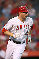 Mark Trumbo #44 of the Los Angeles Angels runs the bases against the Cleveland Indians at Angel Stadium on August 14, 2012 in Anaheim, California. Los Angeles defeated Cleveland 9-6. (Larry Goren/Four Seam Images)