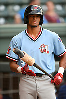 Center fielder Bubba Thompson (25) of the Hickory Crawdads on deck during a game against the Greenville Drive on Monday, August 20, 2018, at Fluor Field at the West End in Greenville, South Carolina. Hickory won, 11-2. (Tom Priddy/Four Seam Images)