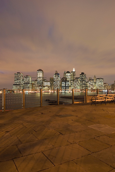 AVAILABLE FROM JEFF AS A FINE ART PRINT.<br /> <br /> AVAILABLE FROM PLAINPICTURE FOR COMMERCIAL AND EDITORIAL LICENSING.  Please go to www.plainpicture.com and search for image # p5690009.<br /> <br /> Lower Manhattan Skyline on an Overcast Night, Viewed from Brooklyn Heights Promenade, New York City, New York State, USA