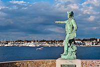 Jean-Baptiste Donatien de Vimeur, comte de Rochambeau overlooking Newport harbor, Rhode Island, USA