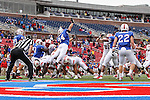 Southern Methodist Mustangs defensive end Beau Barnes (94) trys to block a extra point during the game between the Rutgers Scarlet Knights and the SMU Mustangs at the Gerald J. Ford Stadium in Fort Worth, Texas. Rutgers defeats SMU 55 to 52 in triple OT.