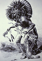 Dancer of the Dog Dancer Society.  Engraving by Carl Bodmer.