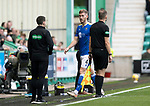 Hibs v St Johnstone…22.09.21  Easter Road.    SPFL<br />Jamie McCart walks off after being sent off by referee John Beatson<br />Picture by Graeme Hart.<br />Copyright Perthshire Picture Agency<br />Tel: 01738 623350  Mobile: 07990 594431