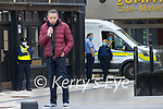 Gardai on duty at lockdown protest in Tralee on Saint Patrick's day.