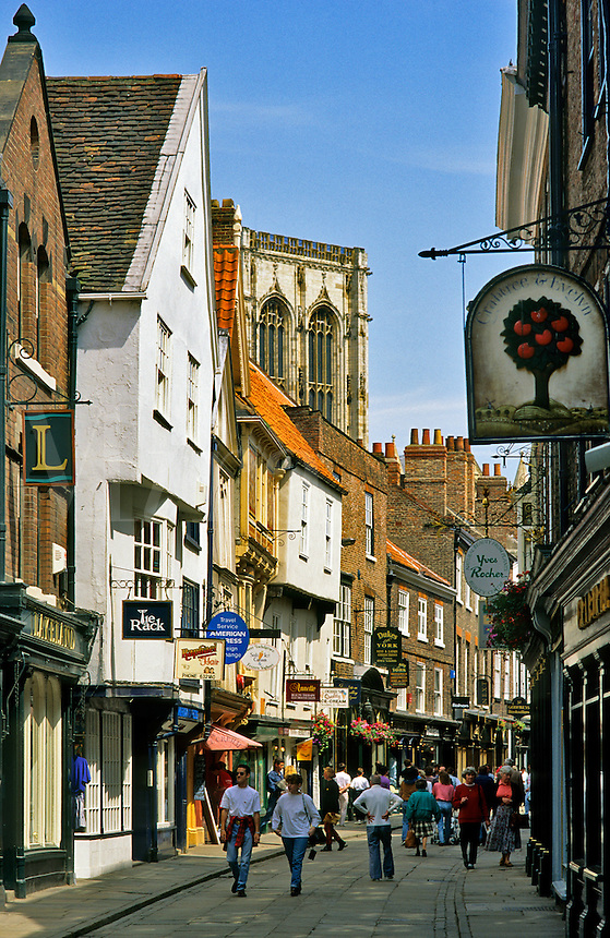 England. City of York.  The Stonegate and York Minster.